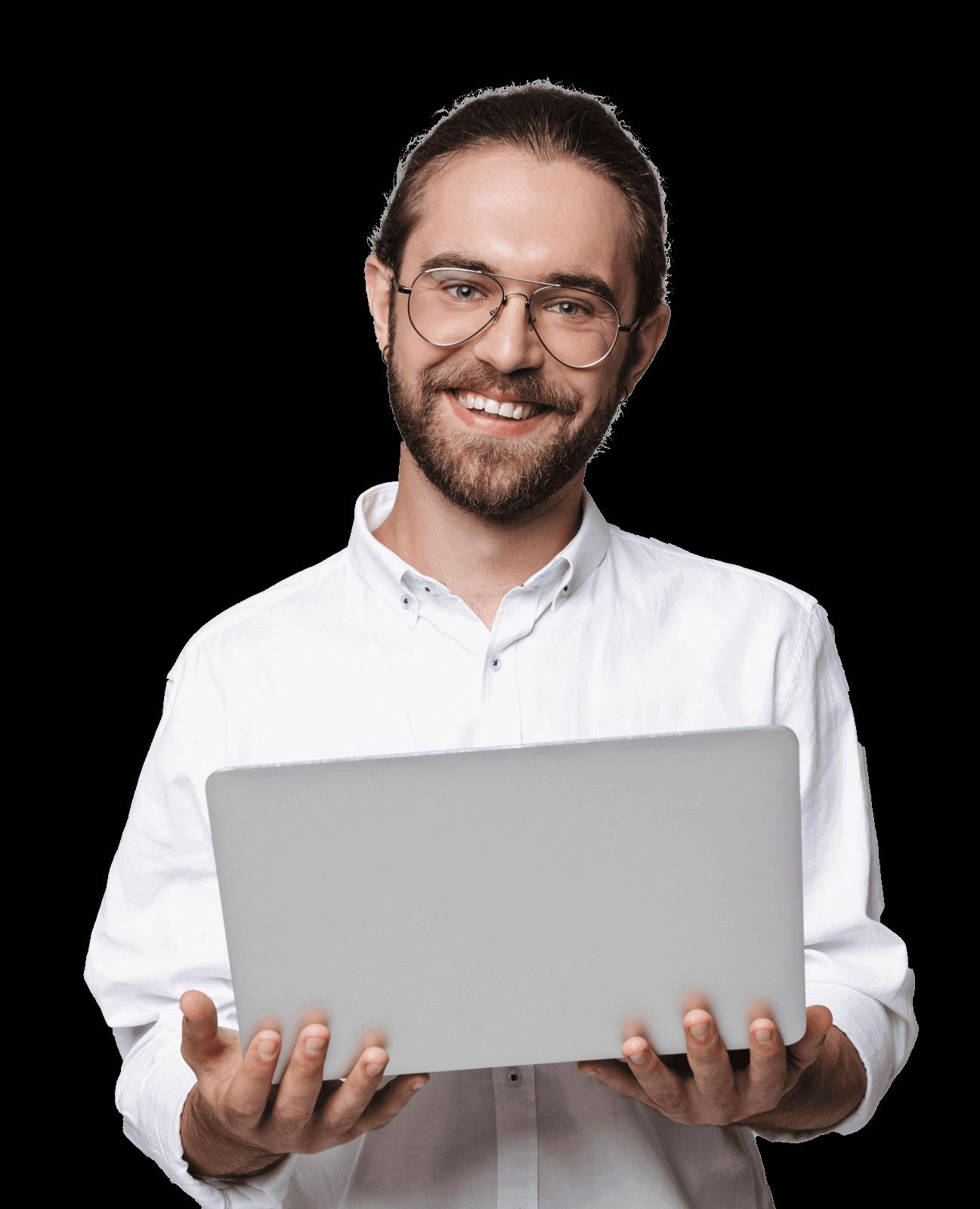handsome bearded man wearing glasses using laptop 5S2XN88