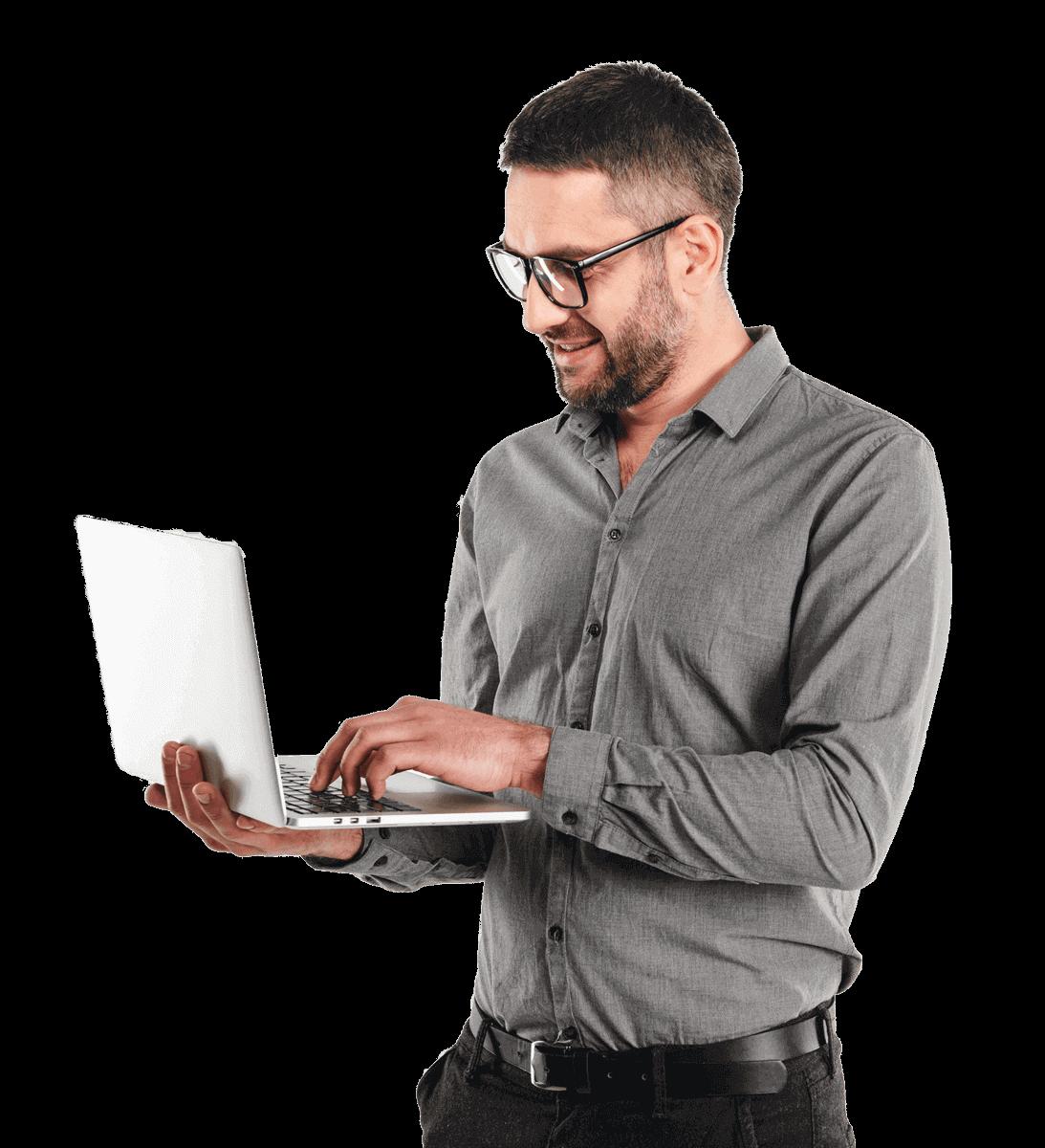 happy man using laptop computer PBY7RDV
