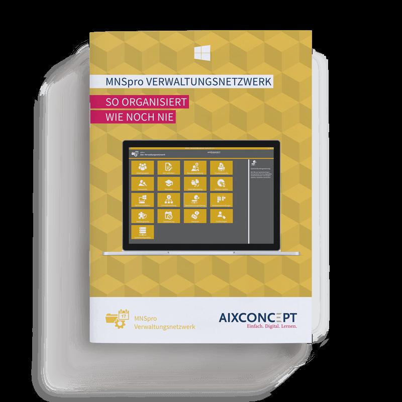 Mockup Broschuere MNSpro Verwaltungsnetzwerk